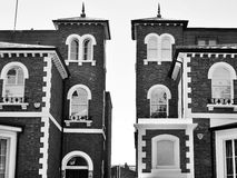 Brick houses in black and white