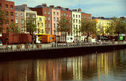 Brick houses at the river. In Dublin, Ireland Stock Image