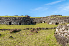 Brick houses at the ruins of Orongo Village at Rano Kau Volcano - Easter Island, Chile Royalty Free Stock Photography