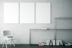 Brick interior with banners. White brick interior with modern bookshelf, chair and three blank banners. Mock up, 3D Rendering Stock Photos