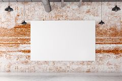 Brick interior with blank poster. Textured brick interior with blank poster and concrete floor. Gallery and advert concept. Mock up, 3D Rendering Royalty Free Stock Photography