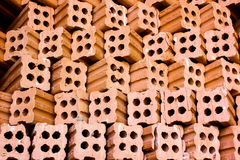 Brick kiln. collection set of red bricks stack in oven factory b Royalty Free Stock Image