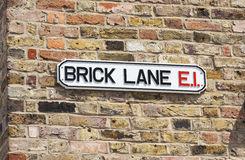 Brick Lane Street Sign, London, England Stock Images