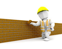Brick Layer. 3D render of a person building a brick wall Stock Photography