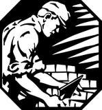 Brick Laying. Line Art Illustration of a Brick Layer vector illustration