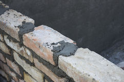 Brick laying, bricklaying spreading a bed joint 2 Royalty Free Stock Images