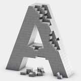 Brick A letter. 3D rendering of brick A letter Stock Photo