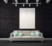 Brick living room with empty poster royalty free illustration