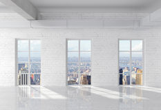 Brick loft. White brick loft interior with window stock image