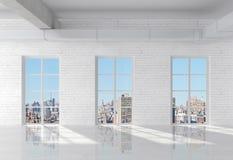 Brick loft. White brick loft with window to city Stock Image