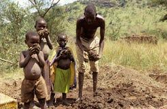 Brick making in Uganda. Royalty Free Stock Photos