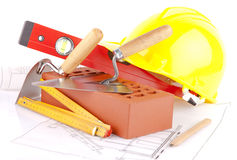 Brick and Mason construction tools Stock Photography