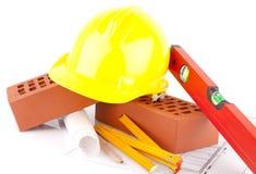 Brick and Mason construction tools Stock Photo