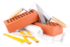 Brick and Mason construction tools Stock Photos