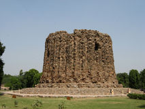 Brick minaret Alai Minar. Unfinished brick minaret Alai Minar, Delhi, India Stock Photography