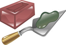 Brick mortar and trowel illustration. Red brick mortar and trowel shiny icon illustration Royalty Free Stock Photography
