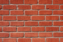 Brick and Mortar Wall. A wall of red bricks with white mortar royalty free stock photos