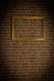 Brick old wall gold framework Stock Photo