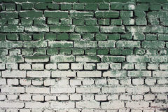 Brick old wall texture with gradient paint green white colors Stock Photos