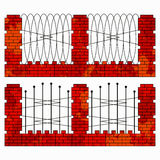 Brick orange fence collection of symbols stock illustration