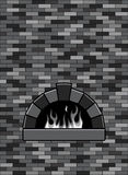 Brick oven, vector. Brick oven with burning fire, vector Stock Image
