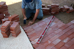Brick path construction Royalty Free Stock Photography
