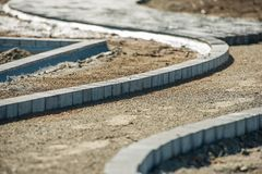 Brick Path Paving Work Stock Images