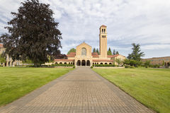 Brick Path to Mt Angel Abbey Church Entrance Royalty Free Stock Image