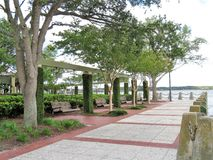 Brick pathway along the waterfront in Beaufort, South Carolina. Brick pathway leading to a park along the waterfront in Beaufort, South Carolina Stock Photos