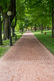 Brick Pathway Through Park Stock Images