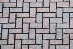 Brick patio. Gray and pink patio brick layout - pattern Stock Photo