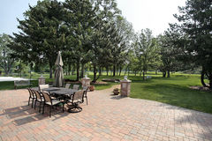 Brick patio with golf course view Royalty Free Stock Photography