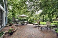 Brick patio of suburban home stock photos