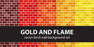Brick pattern set Gold and Flame. Vector seamless brick wall bac. Kgrounds - maroon, red, orange, gold, yellow rounded rectangles on white backdrops Stock Photo