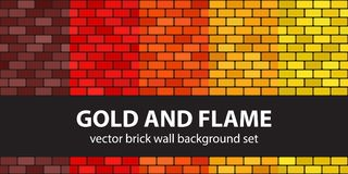 Brick pattern set Gold and Flame. Vector seamless brick wall bac. Kgrounds - maroon, red, orange, gold, yellow rounded rectangles on black backdrops Stock Photo