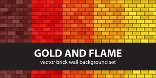 Brick pattern set Gold and Flame. Vector seamless brick wall bac. Kgrounds - maroon, red, orange, gold, yellow rectangles on black backdrops Royalty Free Stock Image