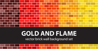 Brick pattern set Gold and Flame Royalty Free Stock Photo