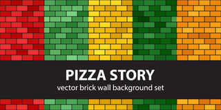 Brick pattern set Pizza Story. Vector seamless brick wall backgrounds: red, light green, yellow, green, orange rectangles on black backdrops Stock Photography