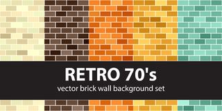Brick pattern set Retro 70s. Vector seamless brick wall backgrou. Nds - beige, brown, orange, yellow, green rectangles on white backdrops Stock Images