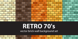 Brick pattern set Retro 70s. Vector seamless brick wall backgrou. Nds - beige, brown, orange, yellow, green rectangles on black backdrops Royalty Free Stock Photo
