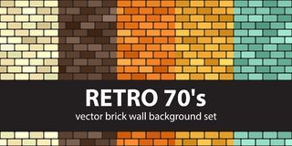 Brick pattern set Retro 70s. Vector seamless brick wall backgrounds. Beige, brown, orange, yellow, green rounded rectangles on black backdrops vector illustration