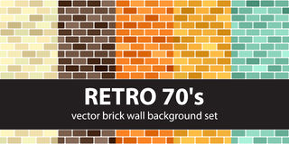 Brick pattern set Retro 70`s. Vector seamless brick wall backgrounds: beige, brown, orange, yellow, green rounded rectangles on white backdrops Stock Image