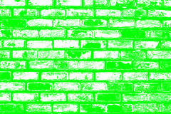 Brick pattern stick in the wall as a background texture with green color effect Stock Photo