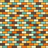Brick pattern. Vector seamless brick wall background. Beige, brown, orange, yellow, green rounded rectangles on black backdrop Royalty Free Stock Photo