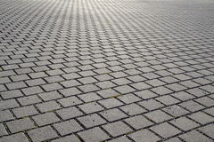 Brick paved city square. City square paved with concrete bricks Stock Photography