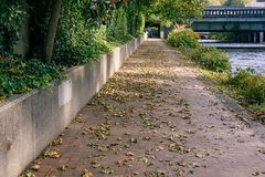 Brick paved river path. Brick paved path covered in dead fall leaves next to a river running under a bridge Royalty Free Stock Photo