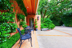 Brick paved walkway leading to the front yard Royalty Free Stock Photography