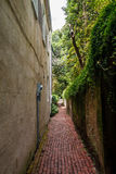 Brick Paved Walkway Between Walls Stock Photo