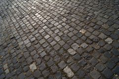 Brick pavement. Diagonal view on the brick pavement Royalty Free Stock Images