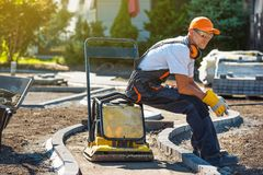 Brick Paver Worker royalty free stock image